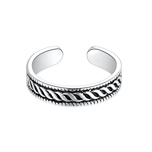 - SILBERTALE 925 Sterling Silver Vintage Wave Spray Hawaii Beachy Open Toe Ring Band Adjustable Women Girls Size 2-4