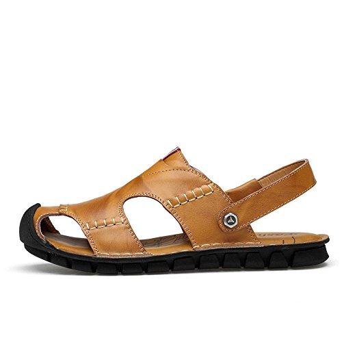 regolabili EU e sandali per in spiaggia 1 tempo Yellow all'aperto Color sandali libero adatti uomo pelle traspiranti la coperto 3 Brown il Sandali al 41 antiscivolo per Size Black da pHYwqz0