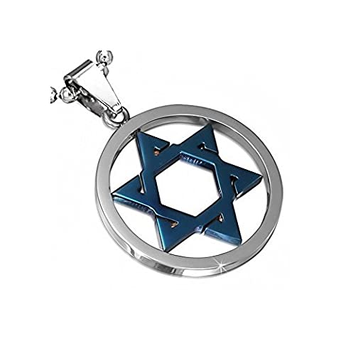 Stainless Steel Silver-Tone Blue Jewish Star of David Charm Pendant Necklace with Chain, 24
