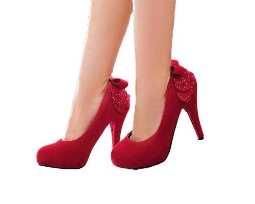 Scarpe Da Donna Con Tacco Alto In Nabuk Da Donna, Scarpe Con Tacco Alto, Taglia Rossa
