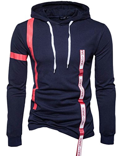 Long UK blue Hooded Pullover Slim today Mens Fit Winter Sleeve Casual Navy Sweatshirt aAOIOwq