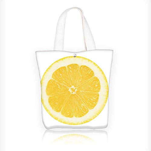 Canvas Beach Bags Juicy yellow lemon on a white background isolated Totes for Women Zippered Beach Shoulder Bag W11xH11xD3 INCH