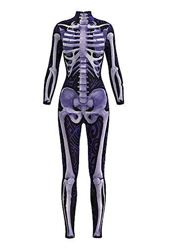 Creative Halloween Costume Ideas For Juniors (Honeystore Women's Halloween Skeleton Catsuit Costume 3D Stretch Skinny Bodysuit bds-97005)