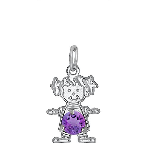February Girls Charm (DTLA Sterling Silver CZ Simulated Birthstone Girl Charm Pendant for Baby and Children - February)