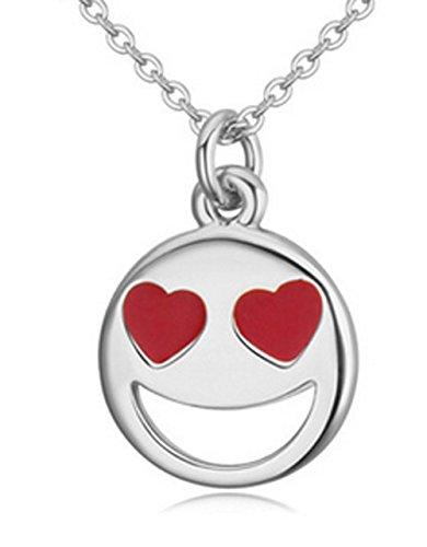 Lovely Land Emoji Pasta Lovely Face Pendant Necklace (Heart(white))