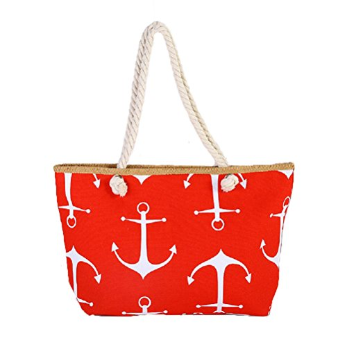 Samanthajane Womens Summer Canvas Beach Tote Holiday Bag Anchor Red