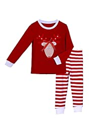 Pettigirl Girls 2 Piece Clothing Set Red Reindeer Striped Pajamas 2-7 Y