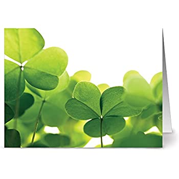 24 St. Patrick's Day Note Cards - Clovers - Blank Cards - Green Envelopes Included