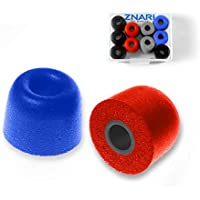 ZNARI Earphone Earbud Foam Tips With Protective Case - T500 - 5 Pairs 10 Pieces - Large Multi-Color