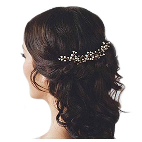 Unicra Bride Wedding Hair Pins Silver Bridal Hair Accessories Pearl Hair Piece for Women and Girls (Pack of 3)