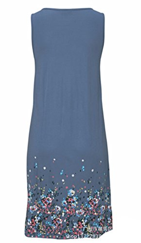 Blue Pleated Printed Loose Casual Beach Sexy Cover up Cotton Sleeveless Swimsuit Dresses Women R7qqwvS