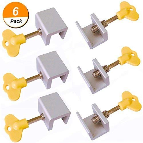 (6 Pieces Adjustable Sliding Window Locks Stops Aluminum Alloy Door Frame Security Lock with Keys)