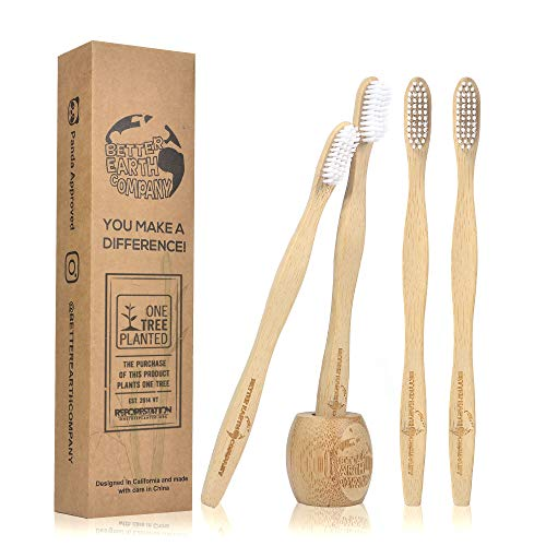 Better Earth Company | Bamboo Toothbrush | Pack of 4 | Free Toothbrush Holder & Ebook | BPA Free Soft Bristles | Biodegradable, Compostable, Eco Friendly, Natural, Organic, Vegan, Wooden