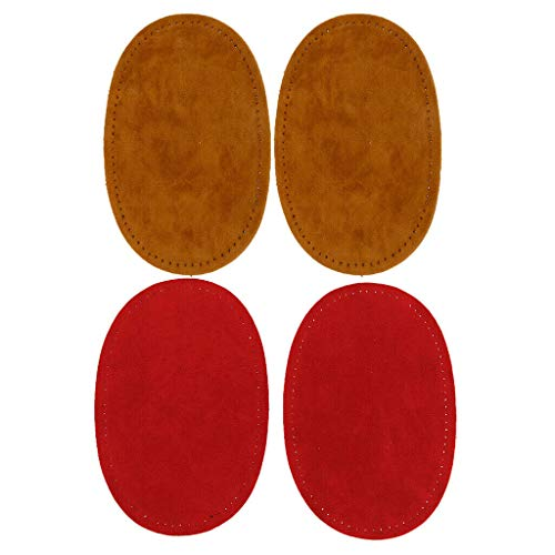 (2 Pairs Fabric Sew on Oval Elbow Knee Patch DIY Repair Mend Sewing Applique)