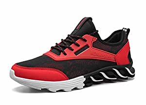 GLSHI Men Breathable Basketball Shoes Outdoor Casual Running Shoes Fashion Lightweight Sneakers Comfortable Trainers (Color : Red, Size : 43)