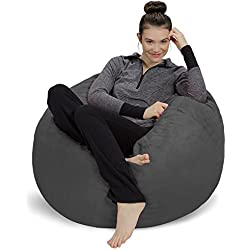Sofa Sack - Plush, Ultra Soft Bean Bag Chair - Memory Foam Bean Bag Chair with Microsuede Cover - Stuffed Foam Filled Furniture and Accessories for Dorm Room - Charcoal 3'