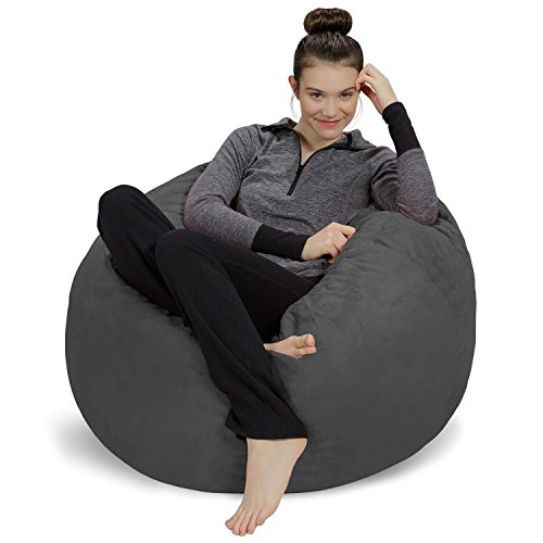 Sofa Sack - Plush, Ultra Soft Bean Bag Chair - Memory Foam Bean Bag Chair with Microsuede Cover - Stuffed Foam Filled Furniture and Accessories for Dorm Room - Charcoal 3' (Le Bean)