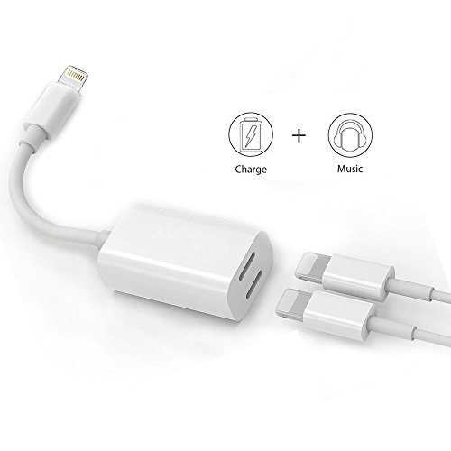 Dual Lightning Adapter & Splitter, White Headphone Audio & Charge Adapter for iPhone 7 / 7 Plus