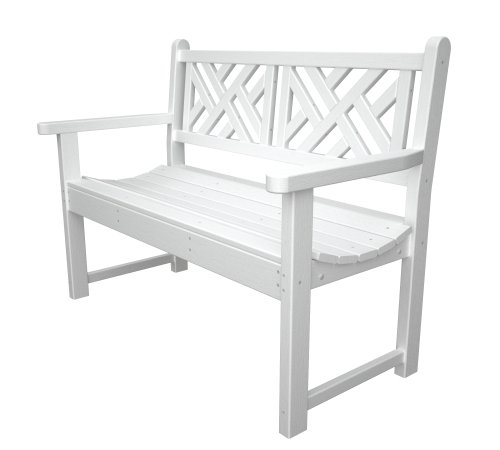 POLYWOOD Outdoor Furniture Chippendale 48 Inch Bench, White-Recycled Plastic Materials