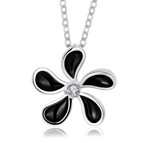 [Oil Drip Flower Rhinestone Pendant Necklace] (Kida Atlantis Costume)