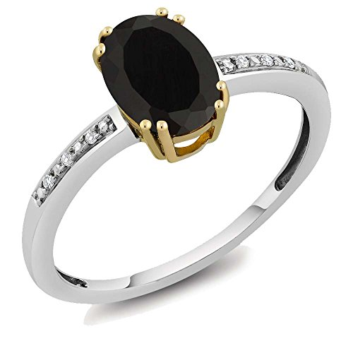 [10K Two Tone Gold Womens Oval Black Onyx Diamond Ring (Size 5,6,7,8,9)] (10k Gold Onyx Diamond Ring)
