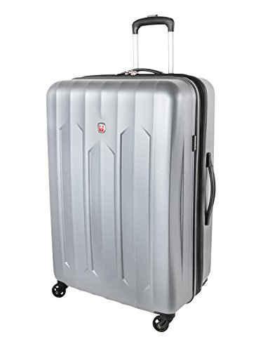 Swiss Gear Chrome Large Checked Luggage – Hardside Expandable Spinner Luggage 28-Inch, Silver