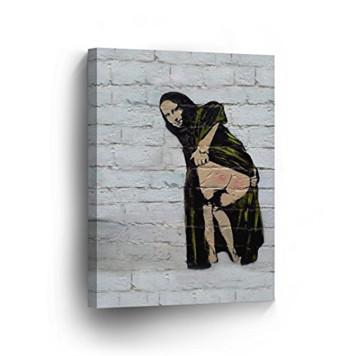 BANKSY CANVAS PRINT Mona Lisa Showing Her Backside Banksy Wall Art Home Decor Decorative Artwork Gallery Wrapped Stretched Ready to Hang - %100 Handmade in the USA - (Mona Lisa Smile Painting)