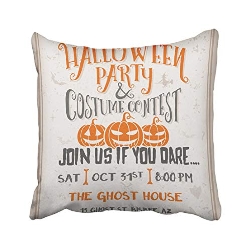 Emvency Cartoon Halloween Party and Costume Contest with Scary Pumpkins Design Grunge Easy to Remove Vintage Witch Throw Pillow Covers 16x16 Inch Decorative Cover Pillowcase Cases Case Two Side]()