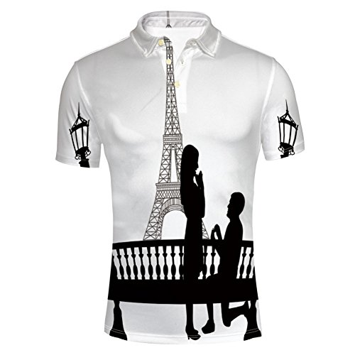 iPrint Paris Lovers City Wedding Proposal for Great Polo T-Shirts by iPrint