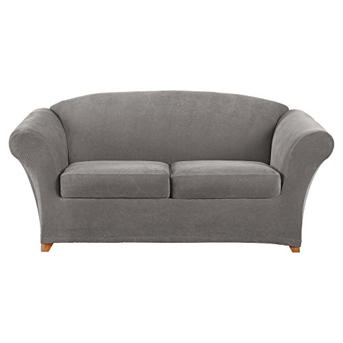 (Sure Fit Stretch Pique 2-Seat Individual Cushion Loveseat Covers - Flannel Gray)