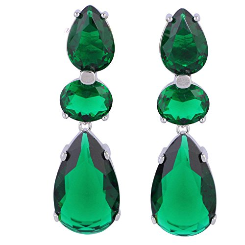 Mistere Distinctive Green Cubic Zirconia 925 Sterling Silver Overlay Dangle Earrings Fashion Jewelry E415,Green ()