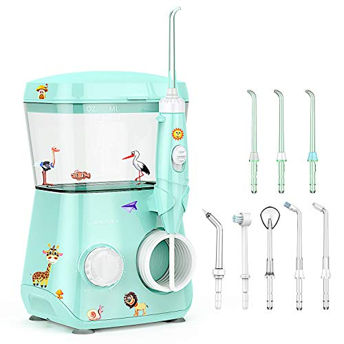 Liberex Water Flosser for Kids - 600ML Oral Irrigator Dental Flosser for Teeth/Braces, 8 Dental Nozzle Jets, 3 Min Timer, 10 Pressure Levels, IP X7 Waterproof Anti Leakage Water Pick Teeth Cleaner