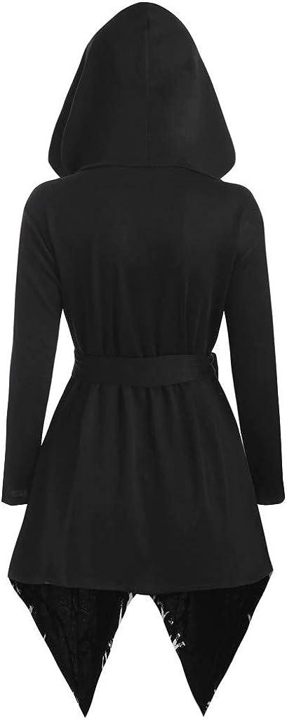 SuperUS Womens Vintage Hooded Coat Plus Size Long Sleeve Solid Color Tree Printed Irregular Hem Cloak with Belt