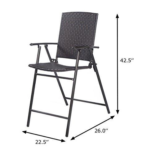 Tangkula 4 Pcs Folding Patio Chair Set Outdoor Pool Lawn