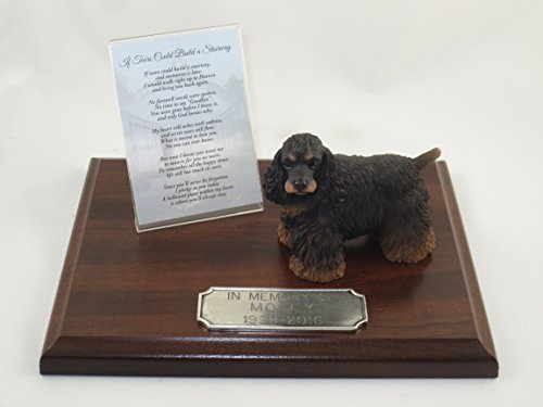 Black Cocker Spaniel Figurine (Beautiful Walnut Finished Personalized Memorial Plaque With Black & Brown Cocker Spaniel Figurine)
