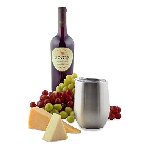 Stainless Steel Wine Glasses with Lid (Set of 4) - 14 oz Double Walled Insulated Outdoor Wine Tumblers - 100% Unbreakable & Stemless - Drinkware Set for: Wine, Coffee, Water
