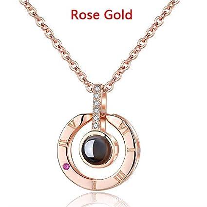 1PC Collar Proyectivo 100 Idiomas Expreso I Love You Creative Regalo Collar Mujer Chica heart oro