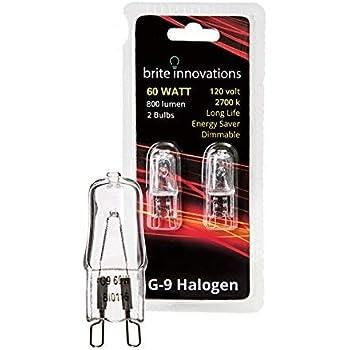 Brite Innovations G9 Halogen Bulb, 60 Watt - 2 Pack - Energy Saving - Dimmable - Soft White 2700K - 120V - Q40, CL, T4 JD Type, Clear Light Bulb