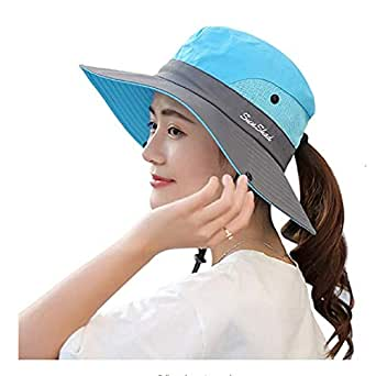 C.C-US Women's Summer Sun Hat Wide Brim Hat with Pony Tail Hole UV Protection UPF 50+ Foldable Hat for Outdoor Beach Hiking Fishing Blue