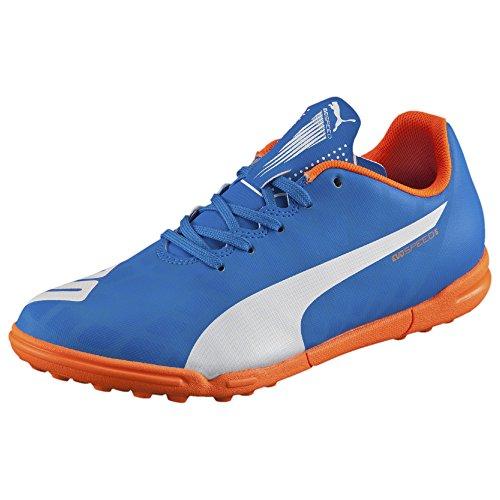 PUMA Evospeed 5.4 Turf JR Soccer Shoe (Infant/Toddler/Little Kid/Big Kid) , Electric Blue Lemonade/White/Orange Clown Fish, 1 M US Little -