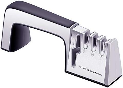 ナイフシャープナー、4 in 1スチールシャープナー、種類のナイフ用のダイヤモンドコーティングおよびファインセラミックロッド、滑り止めベース付き