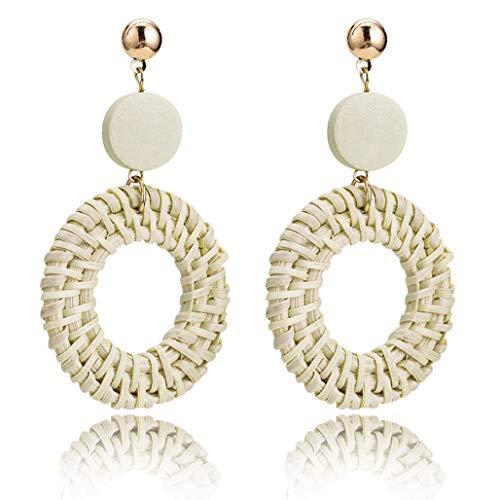 Gleamart Rattan Earrings for Women Handmade Straw Wicker Braid Geometric Statement Dangle Earrings Round