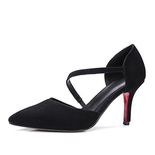 Nine Seven Cuero Moda Puntiagudos Tacones de Aguja de Vestir para Mujer negro