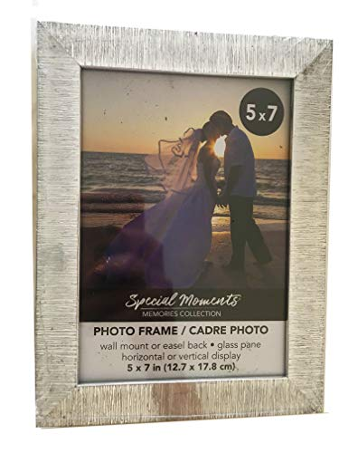Special Moments Brushed Nickel Silver Photo Frame 5x7 - Horizontal or Vertical, Wall Mount or Easel Back