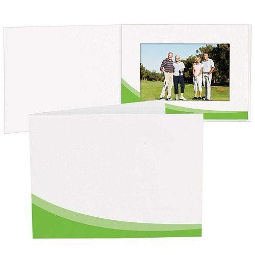 Green Swoosh White Cardboard Photo Folder for 6x4 Prints Our Price is for 50 Units - 4x6