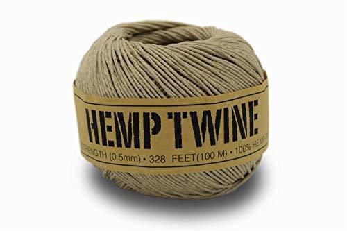 100% Hemp Twine Ball 0.5MM, 50G/328 Ft. - 8 lb. Test Strength - Natural ()