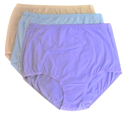 Vanity Fair Women's Perfectly Yours Classic Cotton Brief Panty 15319 (3XL/10, Fawn/Sachet Blue/Lilac) (Tailored Brief Classic Cotton)