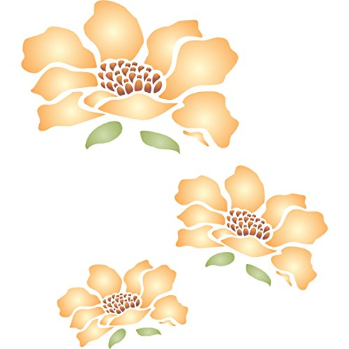 Flower Mural Stencil - (size 14'' x 14'') Reusable Wall Stencils for Painting - Best Quality Mural Wall Art Ideas - Use on Walls, Floors, Fabrics, Glass, Wood, and More… by Stencils for Walls