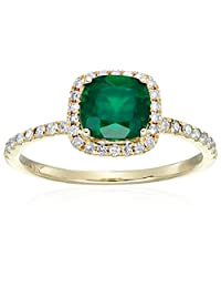 10k Yellow Gold Created Emerald and Diamond Cushion Halo Engagement Ring (1/4cttw, H-I Color, I1-I2 Clarity), Size 7