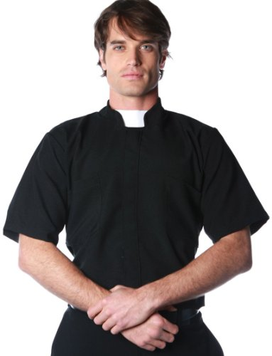 [Underwraps Costumes Men's Priest Costume - Short Sleeve Shirt, Black/White, One Size] (Priest Halloween Costume Deluxe)